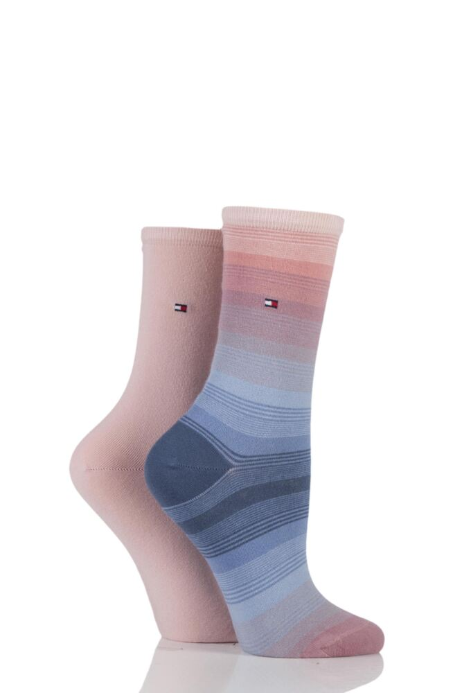 Ladies 2 Pair Tommy Hilfiger Ombre Graded Stripe Cotton Socks