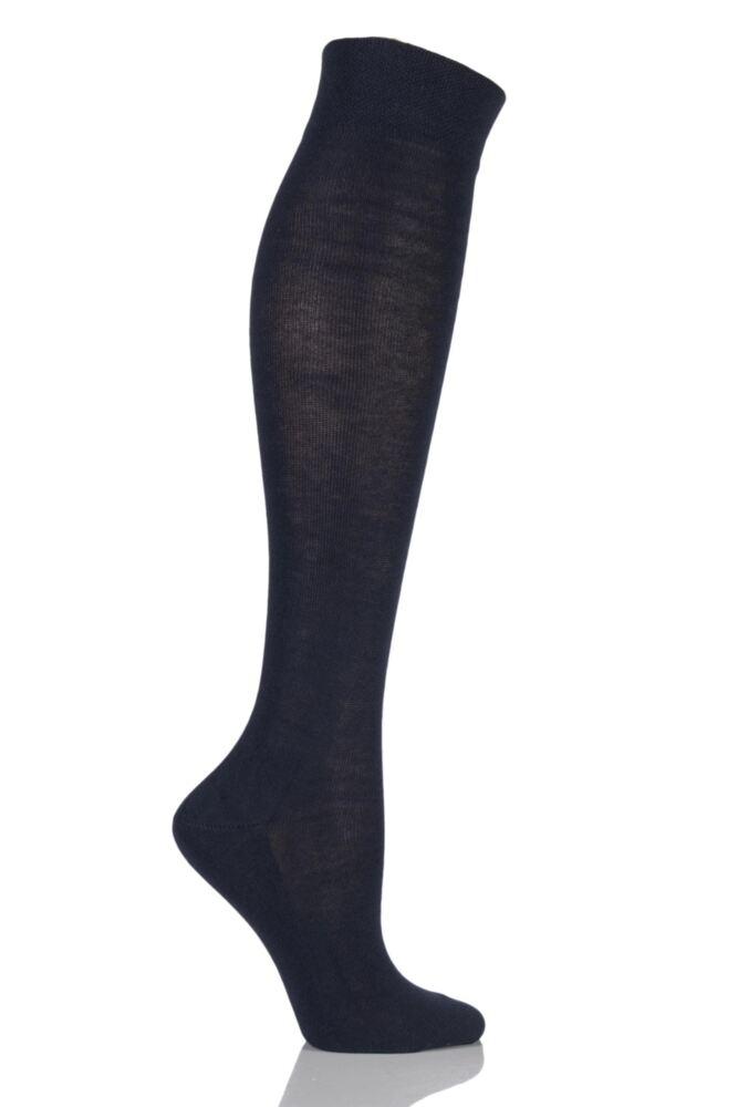 Ladies 1 Pair Falke Sensitive London Left and Right Comfort Cuff Cotton Knee High Socks