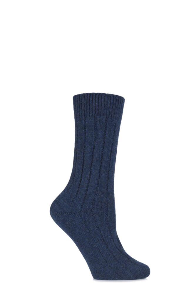 Ladies 1 Pair SockShop of London 100% Cashmere Tuckstitch Bed Socks
