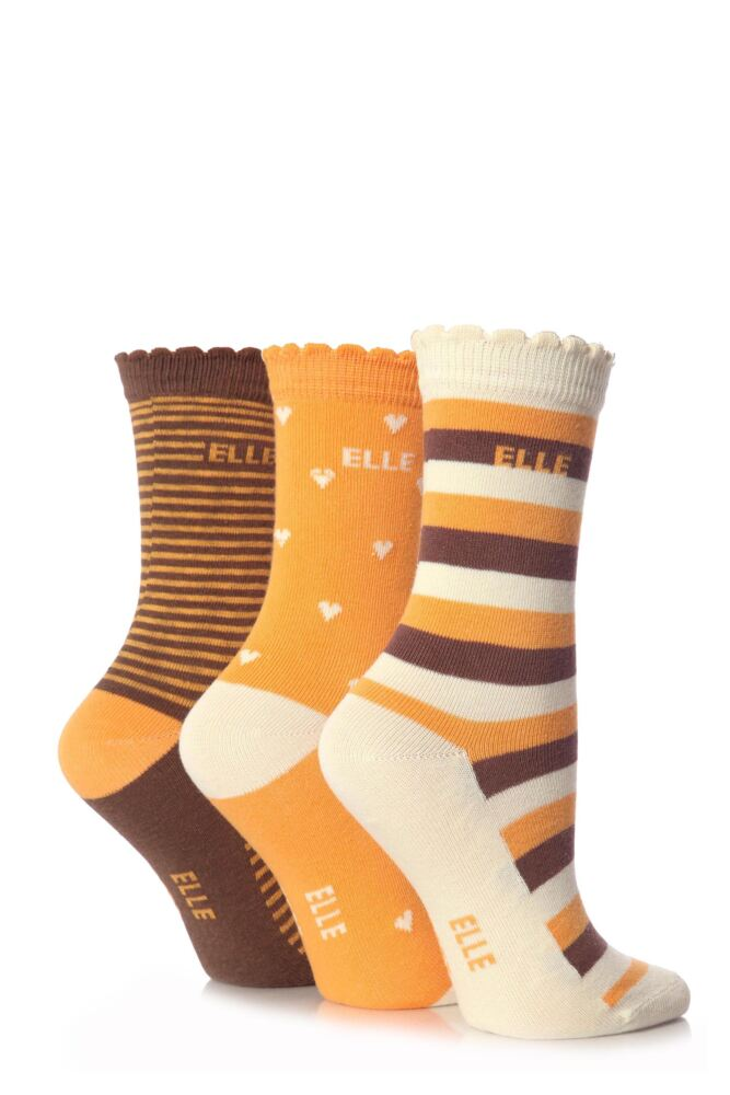 Girls 3 Pair Young Elle Brown Heart and Stripe Socks