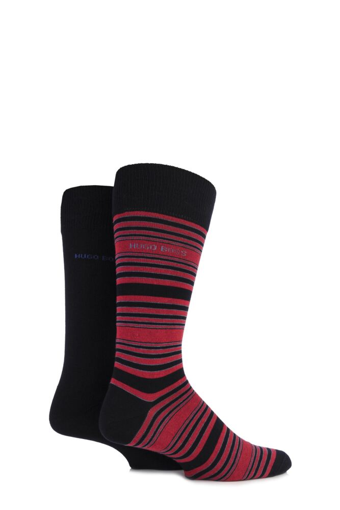 Mens 2 Pair Hugo Boss Plain and Striped Cotton Socks 25% OFF