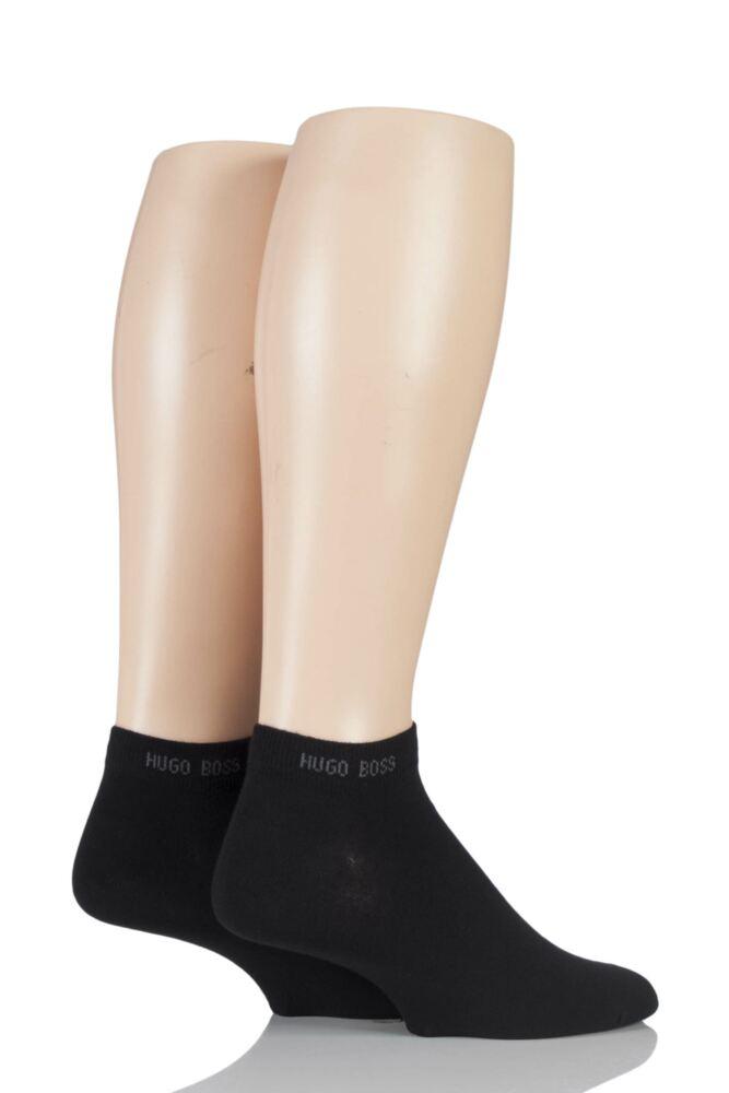 Mens 2 Pair Hugo Boss Plain Cotton Sneaker Socks