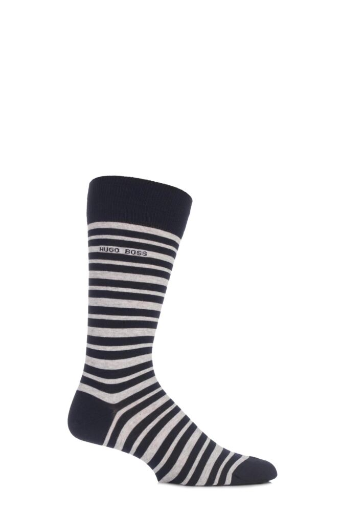 Mens 1 Pair Hugo Boss Marc Striped Combed Cotton Socks