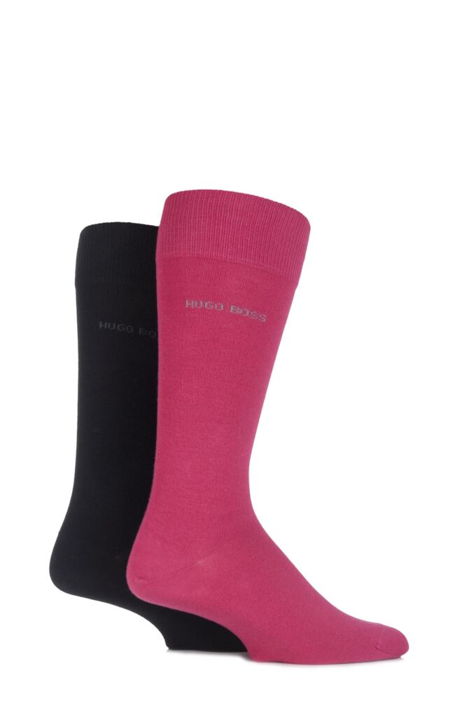 Mens 2 Pair Hugo Boss Mixed Plain Combed Cotton Socks 25% OFF