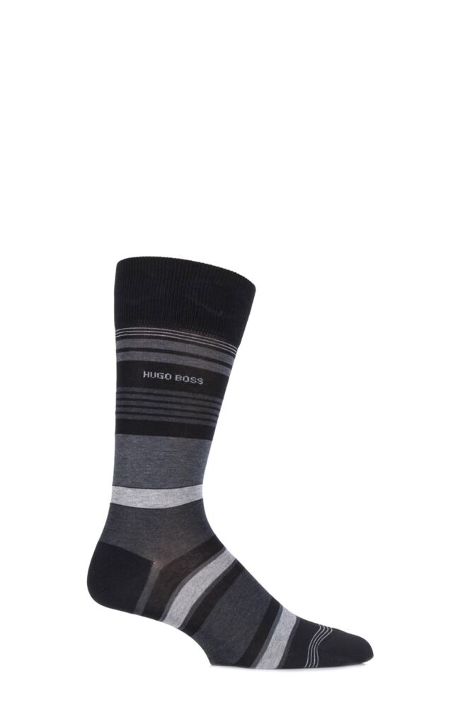 Mens 1 Pair Hugo Boss Mercerised Cotton Multi Striped Socks
