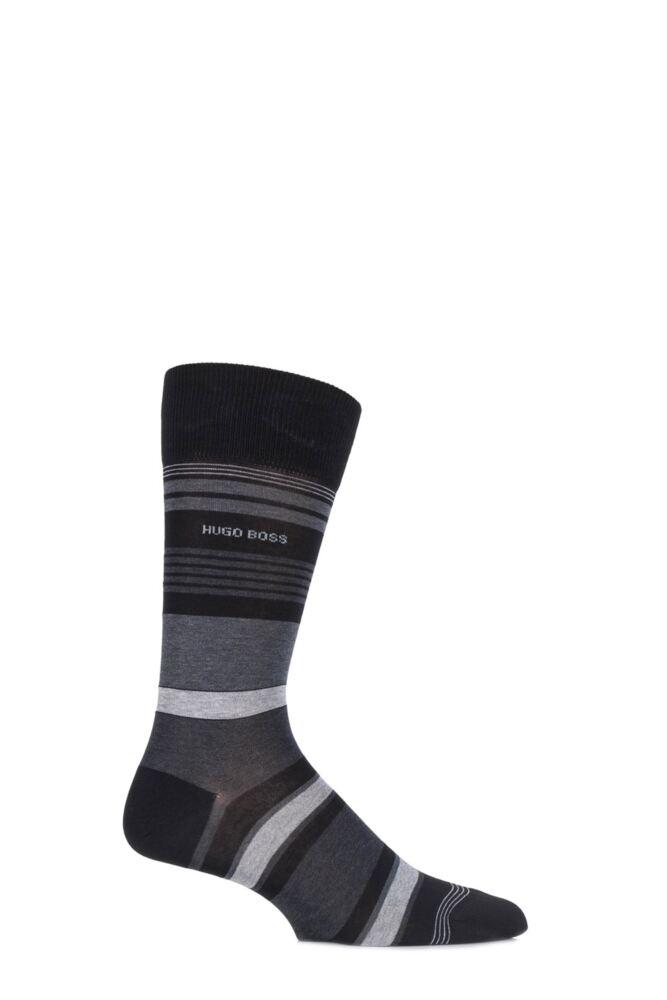 Mens 1 Pair Hugo Boss Mercerised Cotton Multi Striped Socks