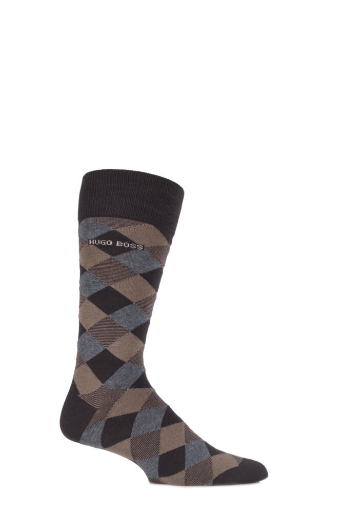 Mens 1 Pair Hugo Boss Combed Cotton Diamond Patterned Socks
