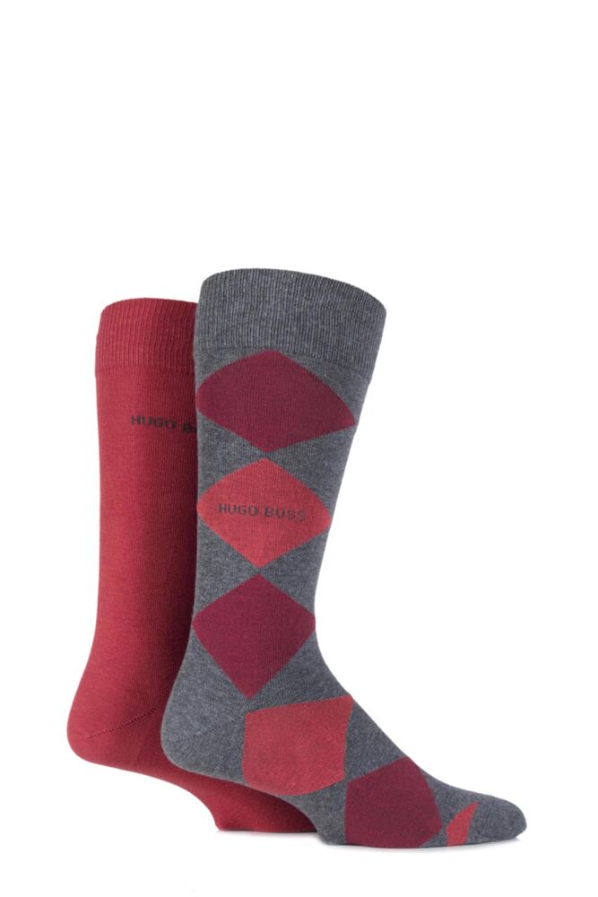 Mens 2 Pair Hugo Boss Combed Cotton Plain and Argyle Socks 25% OFF