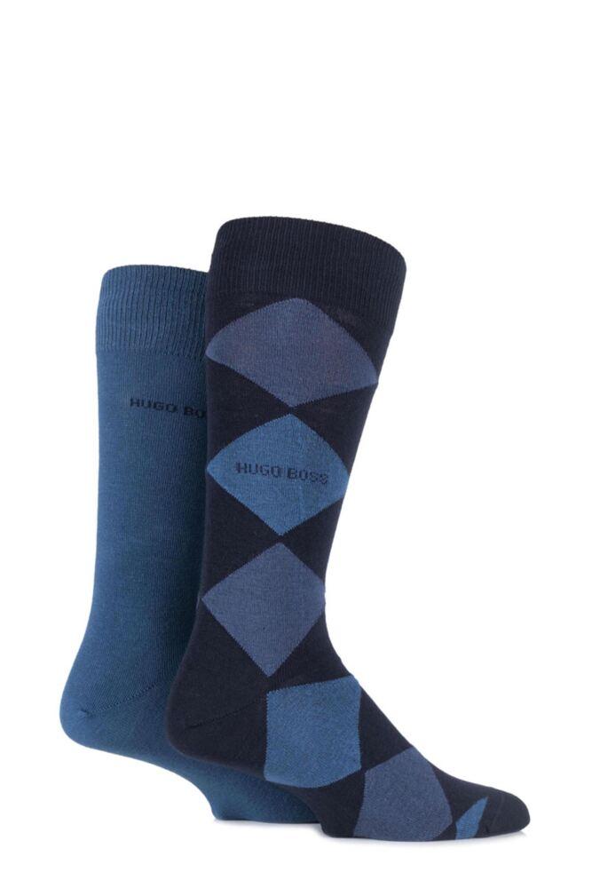 Mens 2 Pair Hugo Boss Combed Cotton Plain and Argyle Socks