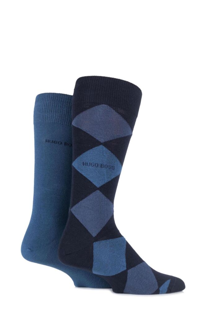 Mens 2 Pair Hugo Boss Combed Cotton Plain and Argyle Socks