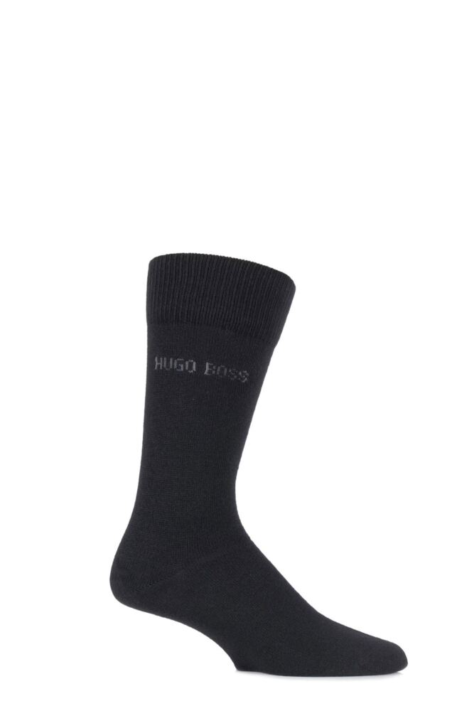 Mens 1 Pair Hugo Boss RS Design Cashmere Blend Plain Socks