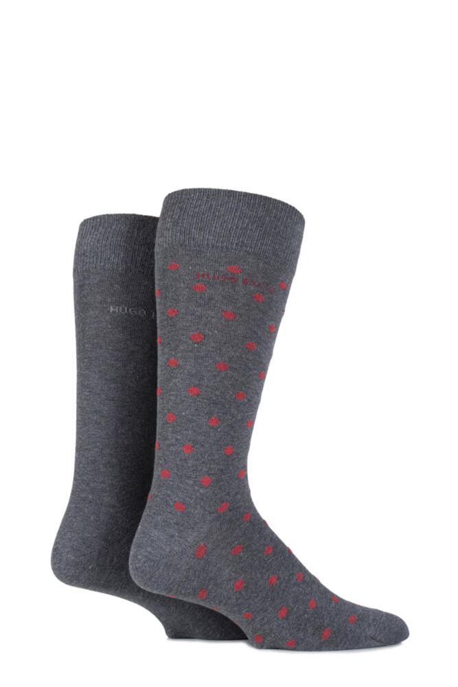Mens 2 Pair Hugo Boss Combed Cotton Plain and Spotty Socks