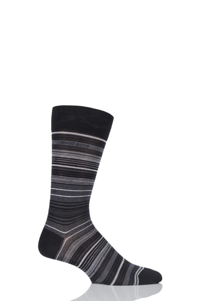 Mens 1 Pair Hugo Boss Varied Striped Mercerised Cotton Socks