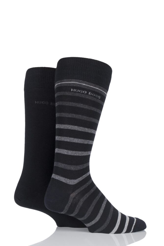 Mens 2 Pair Hugo Boss Plain and Striped Combed Cotton Socks