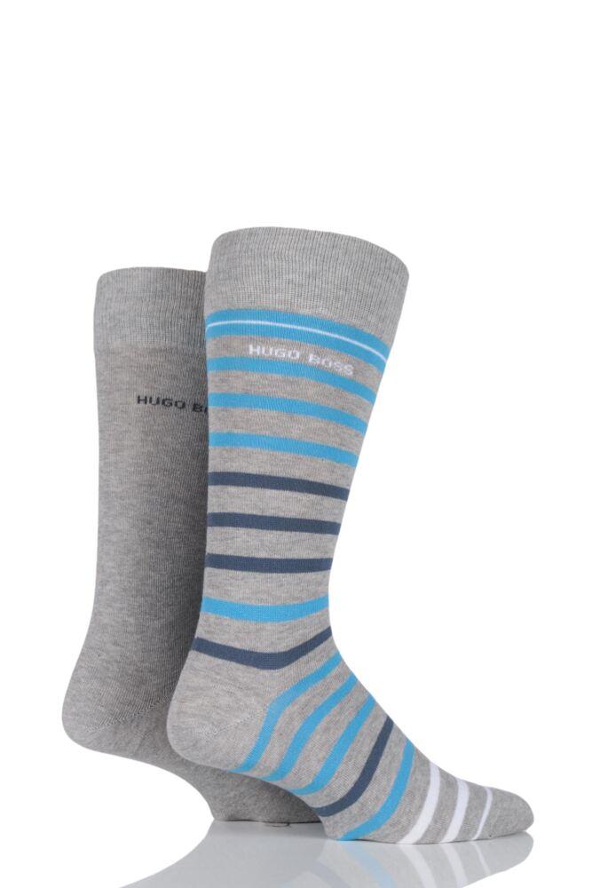 Mens 2 Pair Hugo Boss Plain and Striped Combed Cotton Socks