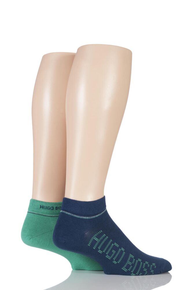 Mens 2 Pair Hugo Boss Combed Cotton Sneaker Socks