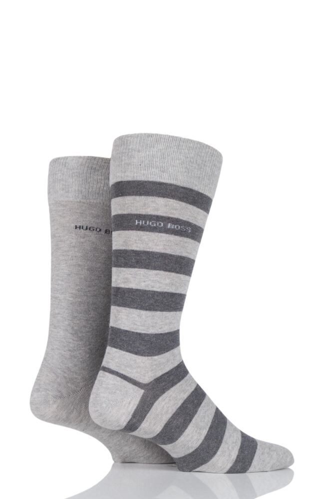 Mens 2 Pair Hugo Boss Block Striped and Plain Combed Cotton Socks