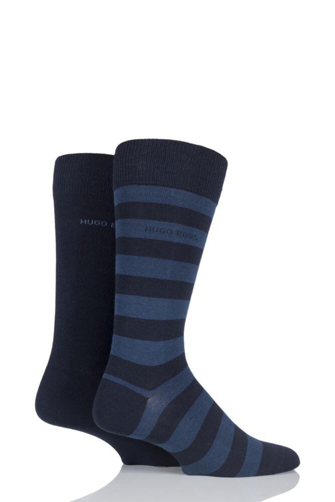 Mens 2 Pair Hugo Boss Block Striped and Plain Combed Cotton Socks