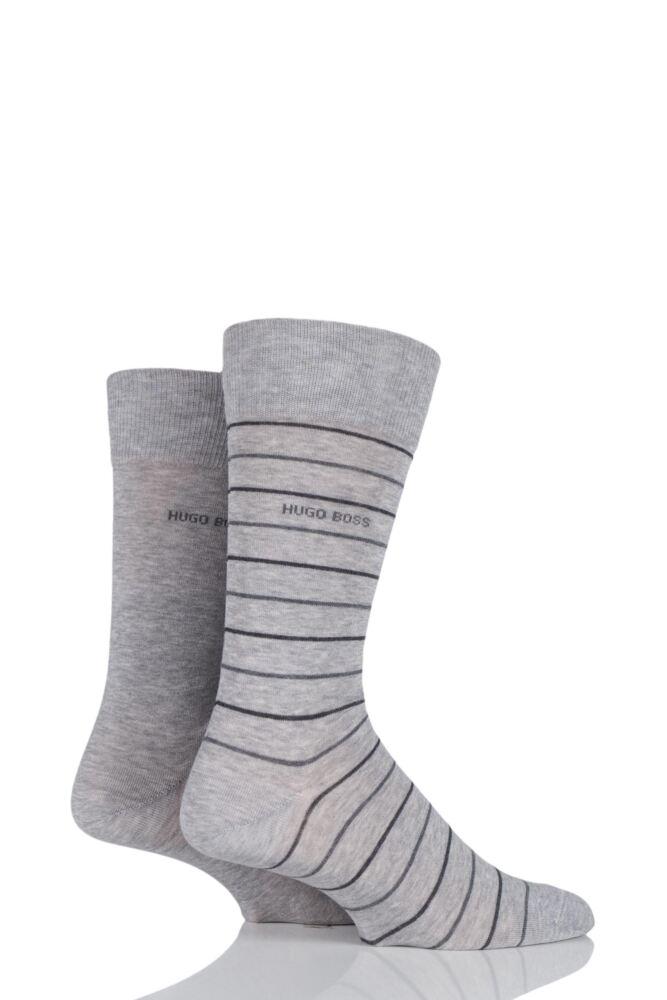 Mens 2 Pair Hugo Boss Fine Striped and Plain Mercerised Cotton Socks