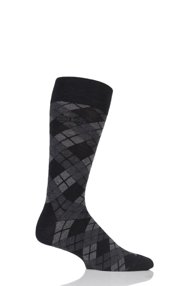 Mens 1 Pair Hugo Boss Argyle Stripe Combed Cotton Socks