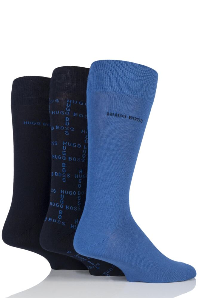 Mens 3 Pair Hugo Boss Gift Boxed Plain and Branded Logo Combed Cotton Socks