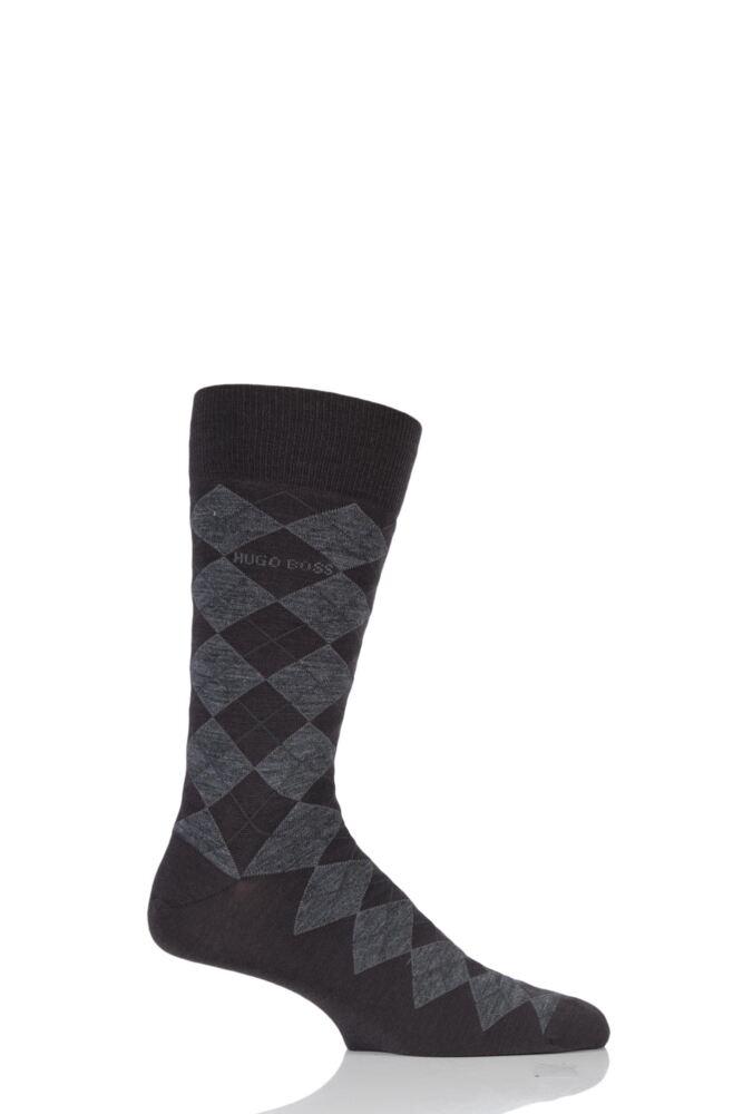 Mens 1 Pair Hugo Boss John Argyle Design Wool Cotton Socks