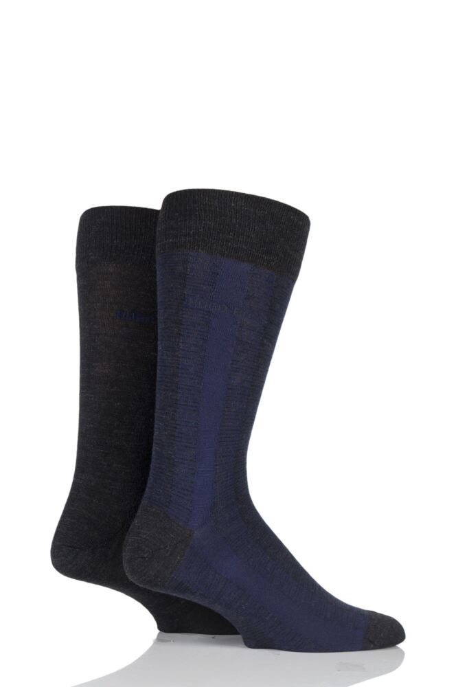 Mens 2 Pair Hugo Boss Plain and Vertical Stripe Wool and Cotton Socks