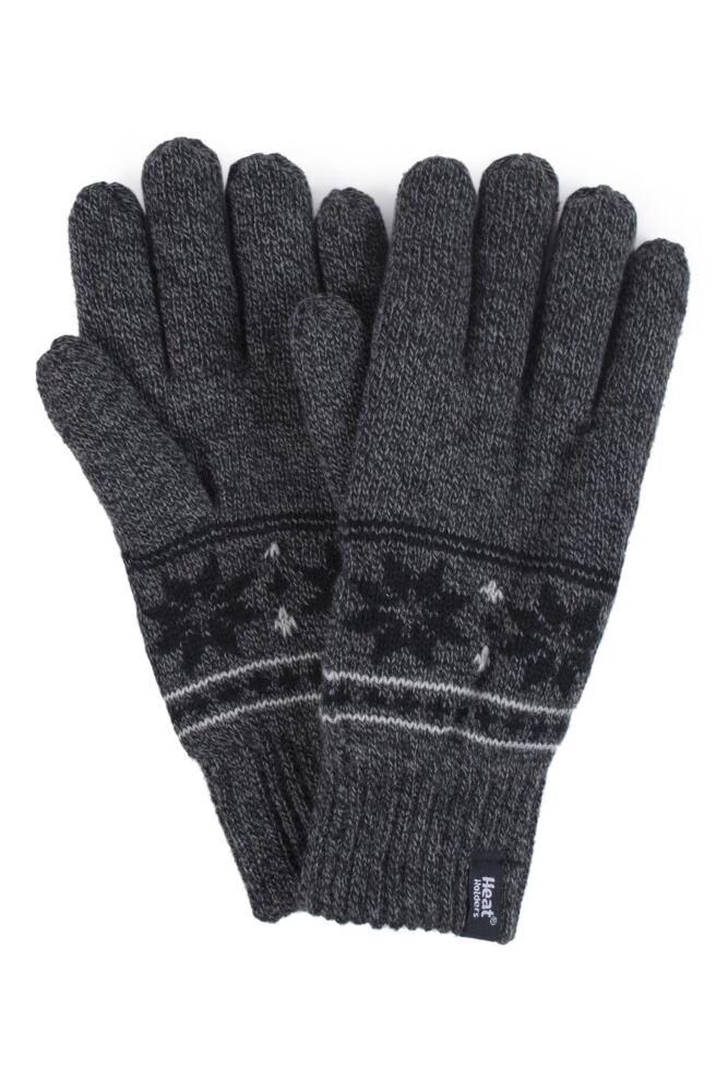 Mens 1 Pair Heat Holders 2.3 Tog Fairisle Gloves In Grey