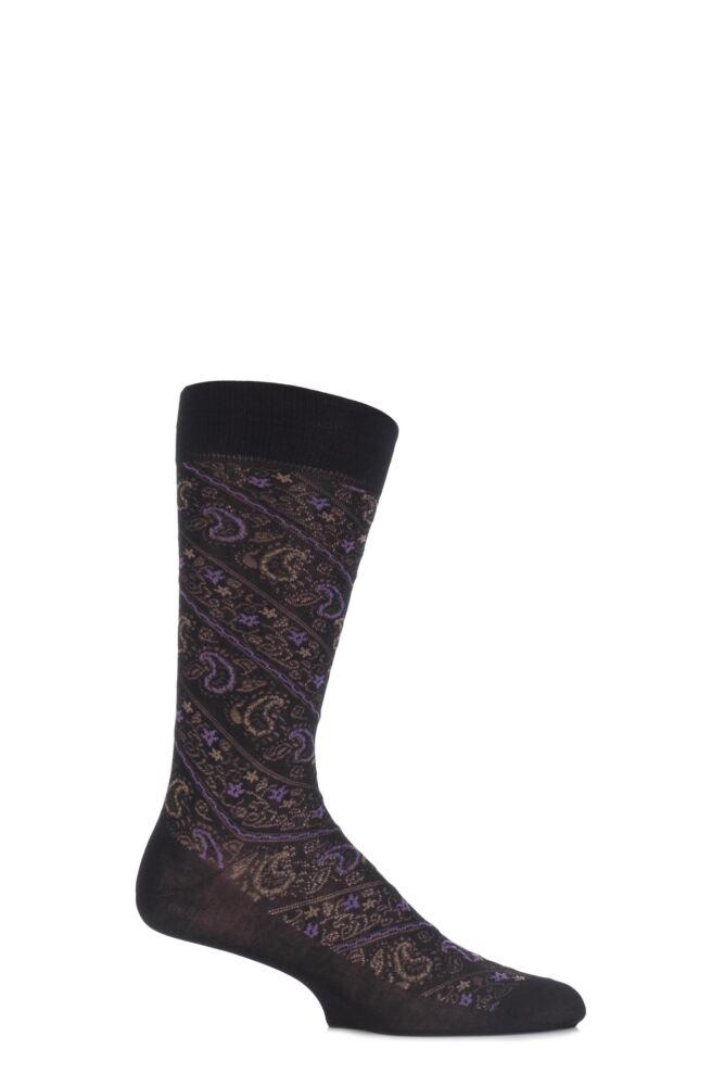 Mens 1 Pair Pantherella Vintage Allover Paisley Cotton Socks