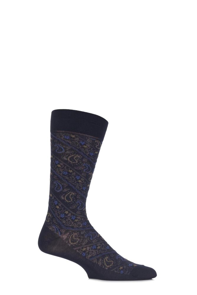 Mens 1 Pair Pantherella Vintage Allover Paisley Cotton Socks