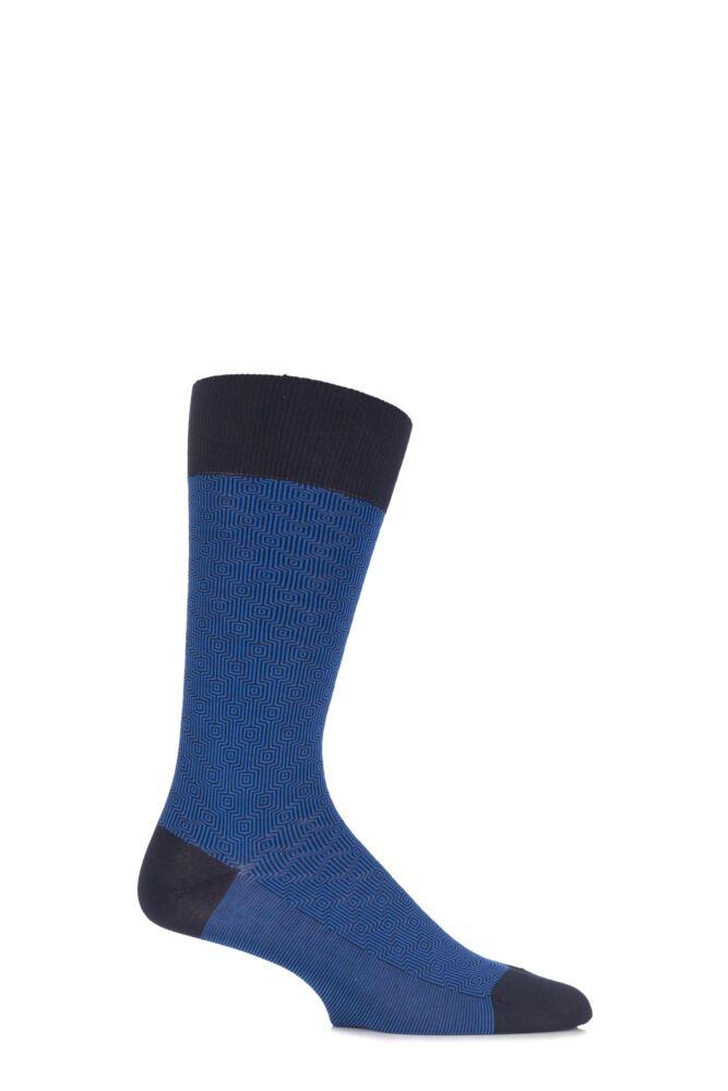 Mens 1 Pair Pantherella Business Modern Aldgate Optical Squared Cotton Socks