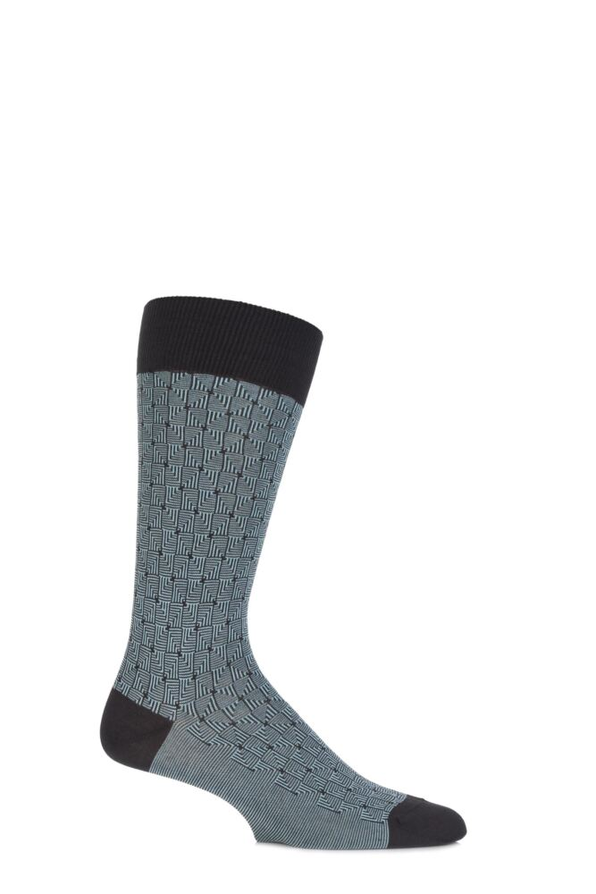Mens 1 Pair Pantherella Business Modern Ludgate Optical Triangled Cotton Socks