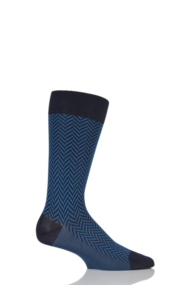 Mens 1 Pair Pantherella Business Modern Hertford Herringbone Socks