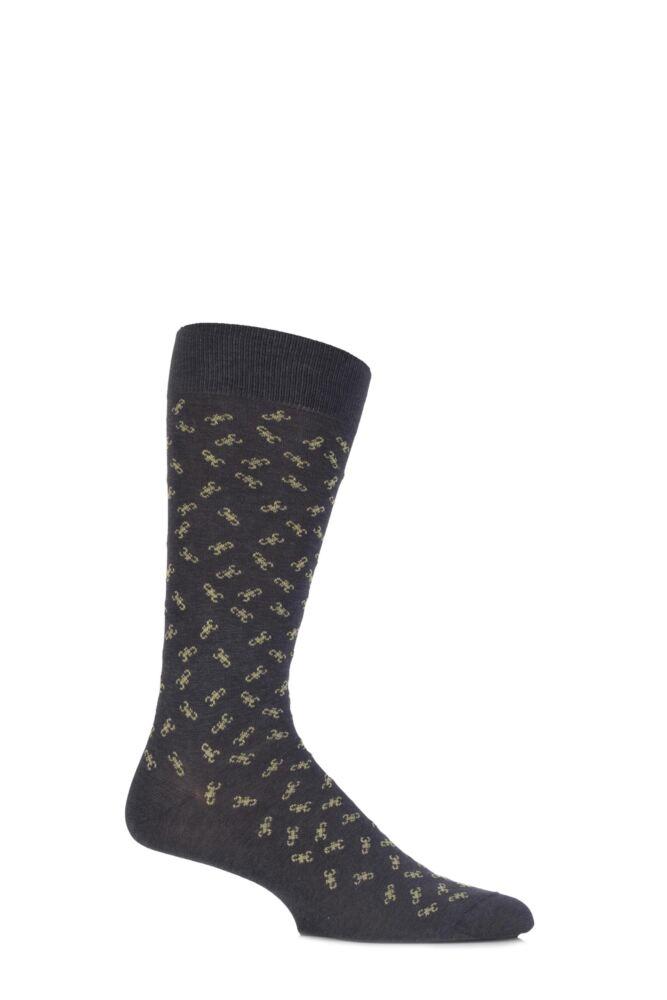 Mens 1 Pair Richard James Kiffian Allover Scorpion Cotton Socks 33% OFF