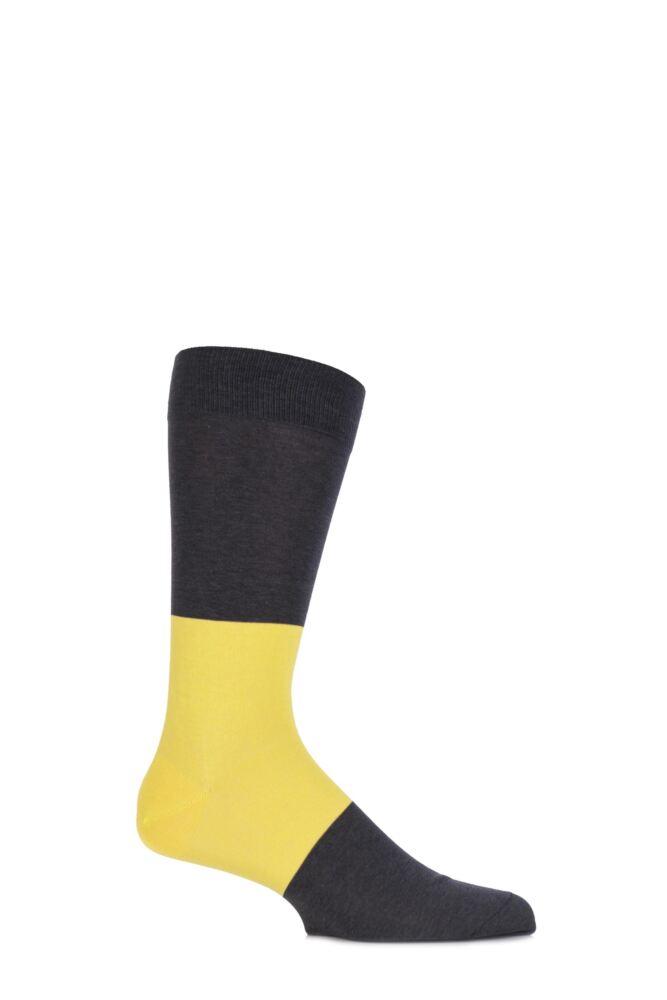 Mens 1 Pair Richard James Sahara Block Striped Cotton Socks
