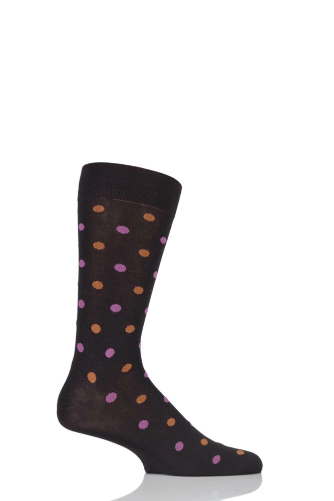 Mens 1 Pair Pantherella Cotton Lisle Business Modern Barbican 2 Colour Spot Socks 25% OFF