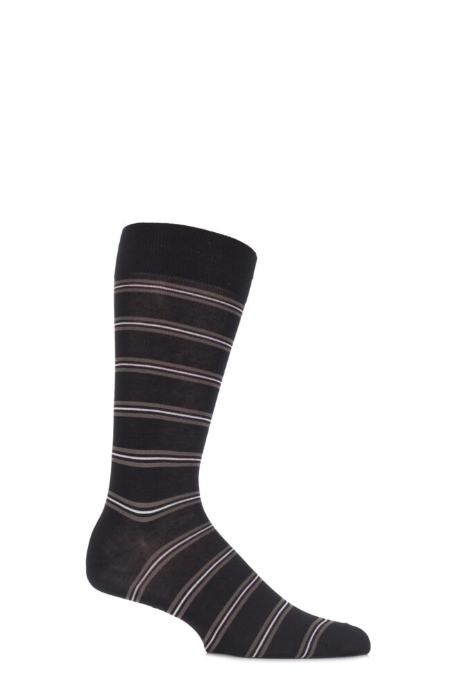 Mens 1 Pair Pantherella Business Classic Selwood Striped Cotton Socks