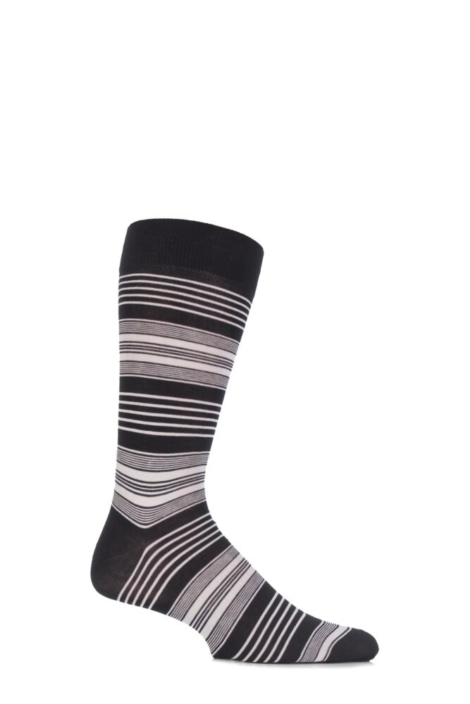 Mens 1 Pair Pantherella Business Modern Sloane Graded Striped Cotton Socks