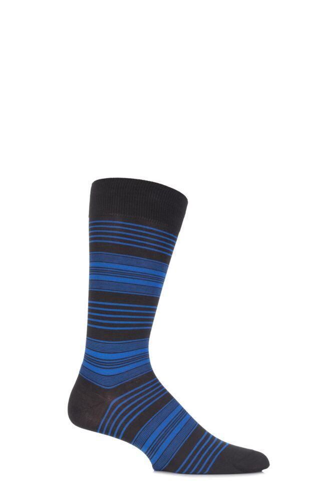 Mens 1 Pair Pantherella Business Modern Sloane Graded Striped Cotton Socks