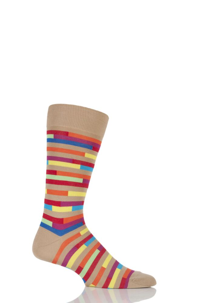 Mens 1 Pair Richard James Jacala Broken Striped Cotton Lisle Socks