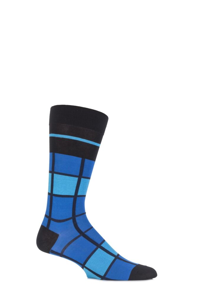 Mens 1 Pair Pantherella Caulfield Colour Block Check Cotton Socks