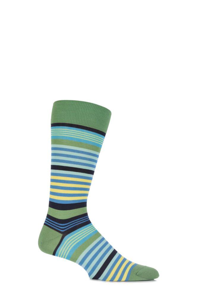 Mens 1 Pair Pantherella Riley Multi Striped Cotton Socks