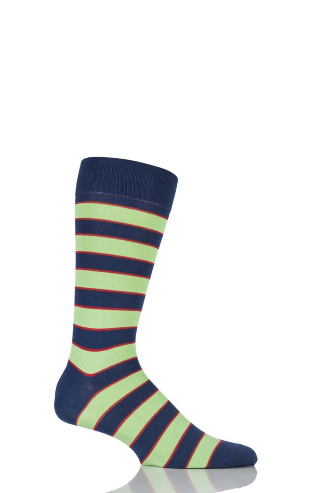 Mens 1 Pair Richard James Hernandes Highlighted Striped Cotton Lisle Socks