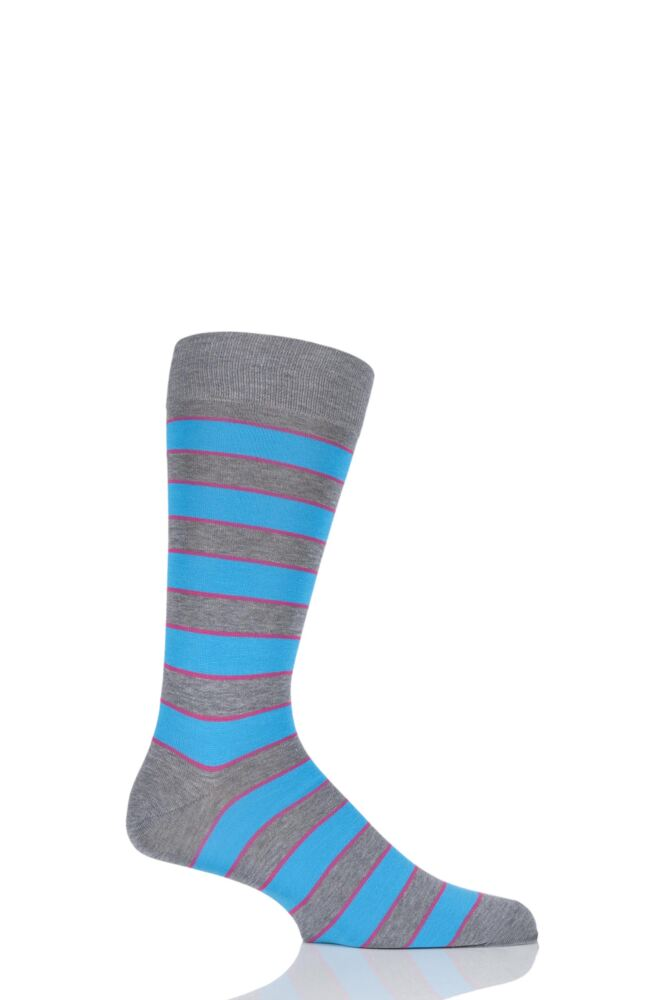 Mens 1 Pair Richard James Hernandes Highlighted Striped Cotton Lisle Socks 25% OFF