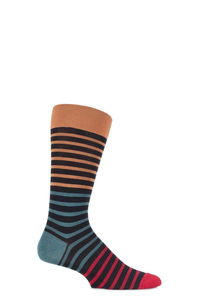 Mens 1 Pair Pantherella Block and Bright Striped Cotton Lisle Socks