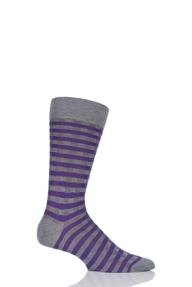 Mens 1 Pair Pantherella Business Modern Chandos Gingham Check Cotton Lisle Socks
