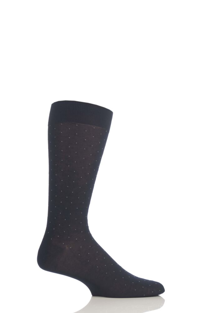 Mens 1 Pair Pantherella Traditional Pindot Design Cotton Lisle Socks