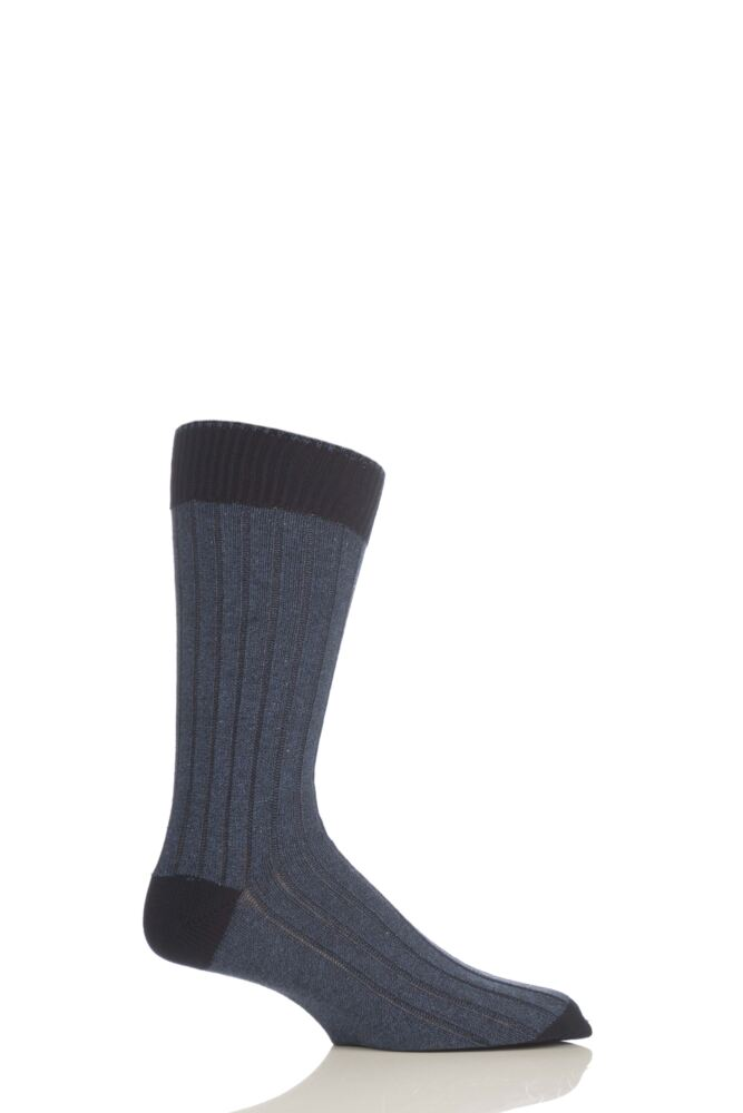 Mens 1 Pair Pantherella Soft Cotton Leisure Socks With Contrast Heel and Toe