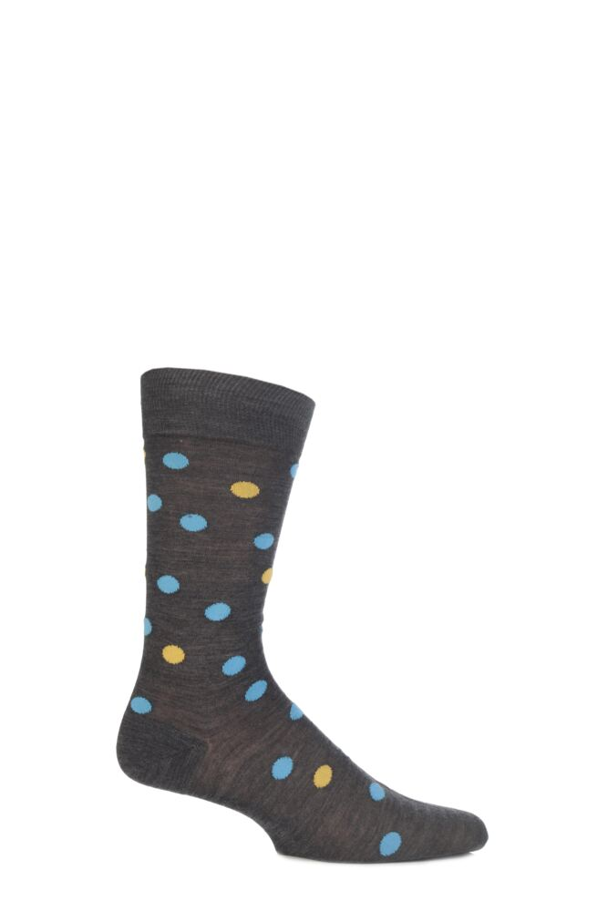 Mens 1 Pair Richard James Merino Wool Multi Coloured Polka Dot Socks 33% Off