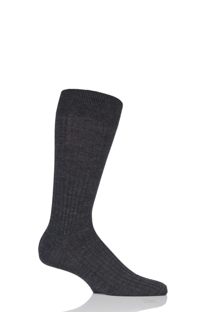 Mens 1 Pair Pantherella Fine Gauge Escorial Wool Ribbed Socks